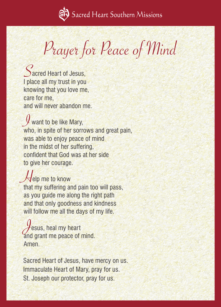 Praying for Peace of Mind